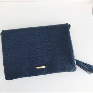 GIGI NEW YORK Foldover Navy Convertible Clutch